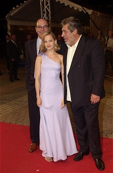 Peter Hyams, Mena Suvari & Jean-Pierre Castaldi during Deauville 2001